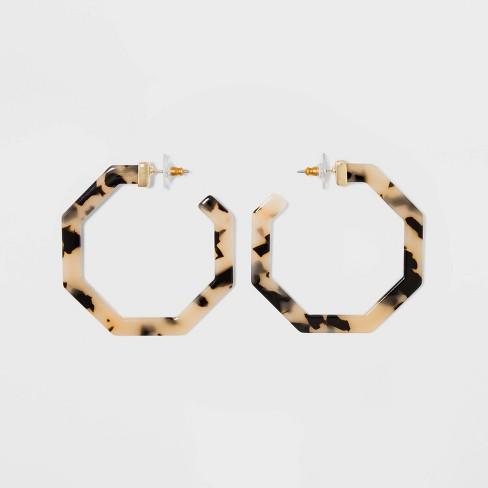 SUGARFIX by BaubleBar Geometric Resin Hoop Earrings - Blonde Tort - image 1 of 3
