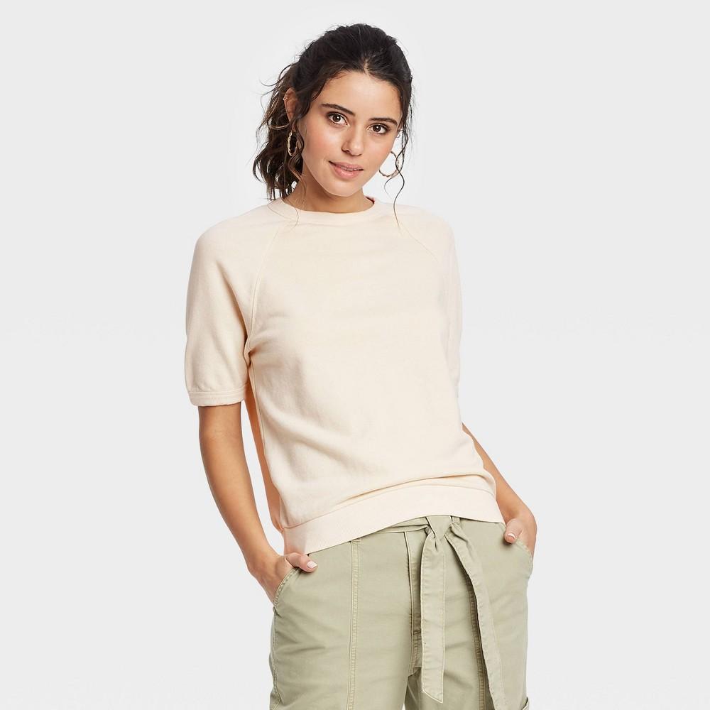 Women 39 S Short Sleeve Sweatshirt Universal Thread 8482 Cream Xl
