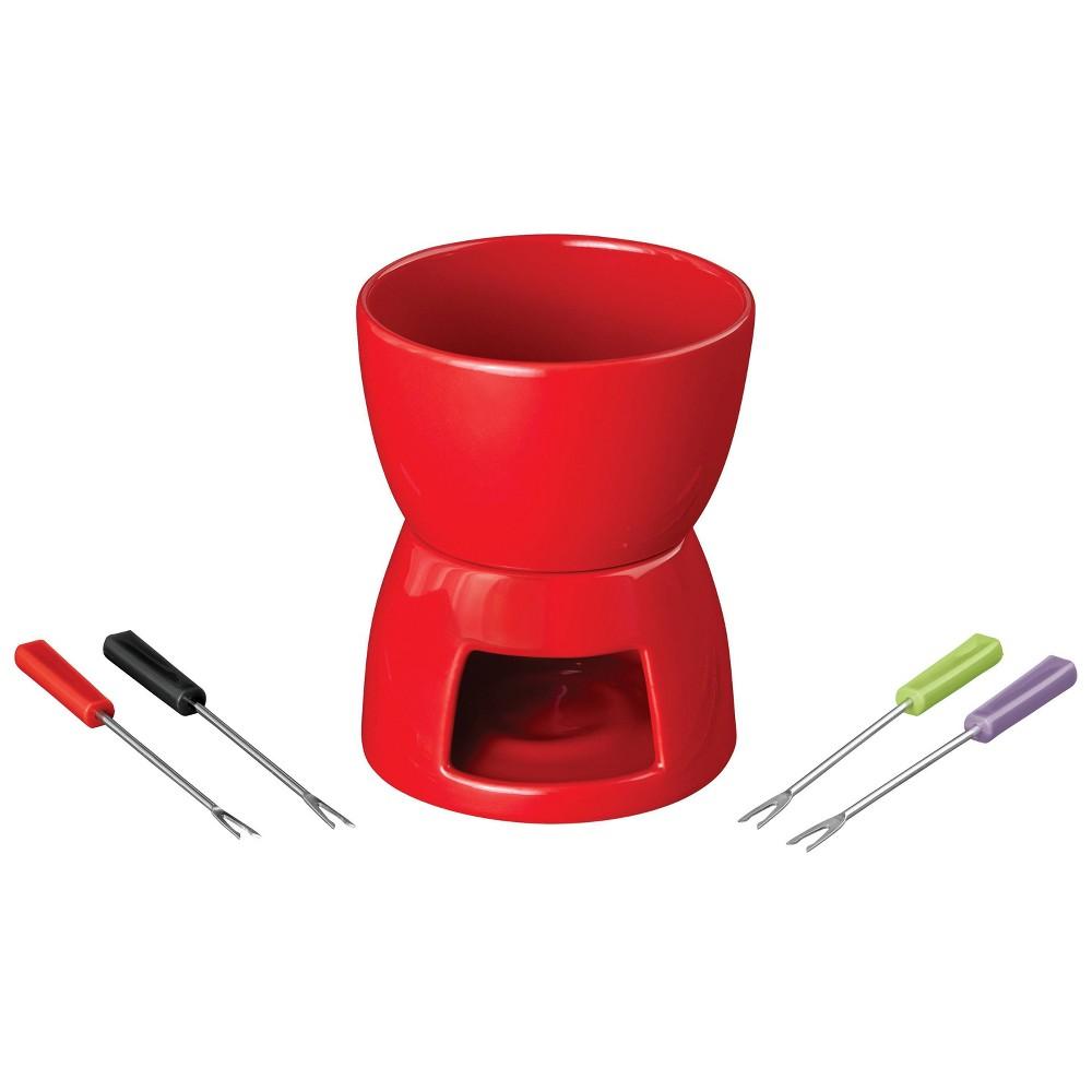 Image of Wilton 5pc Plastic Non-Electric Fondue Set Red