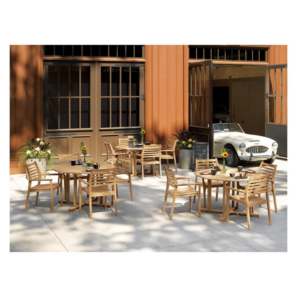 5pc Oxford Table and Mera Stacking Armchair Set Ash (Grey) - Oxford Garden