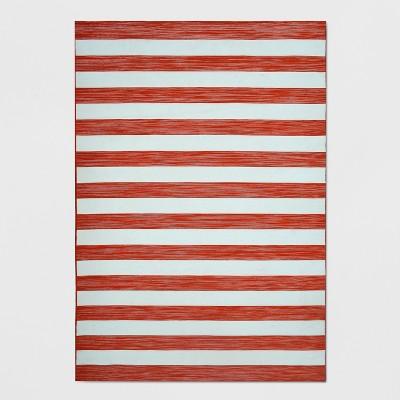 7' x 10' Outdoor Rug Worn Stripe Terracotta - Threshold™