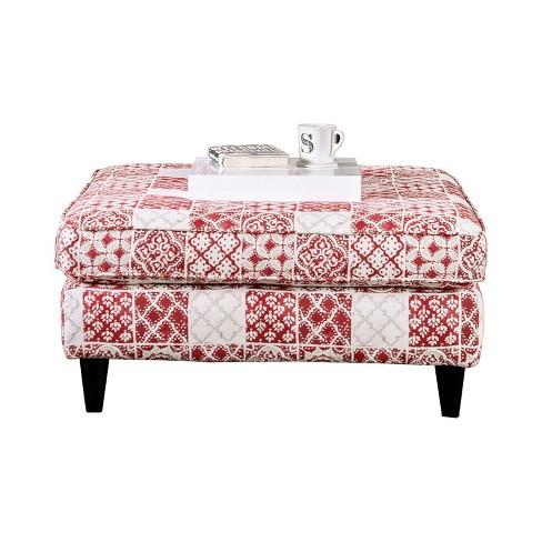 Amelia Square Ottoman Red - miBasics - image 1 of 3