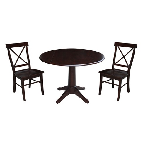"""30.3"""" Riley Round Top Pedestal Table with 2 Chairs Mocha Brown - International Concepts - image 1 of 3"""