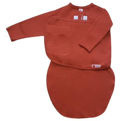 embé Starter Long Sleeve Swaddle Wrap with Fold Over Mitts - Rust