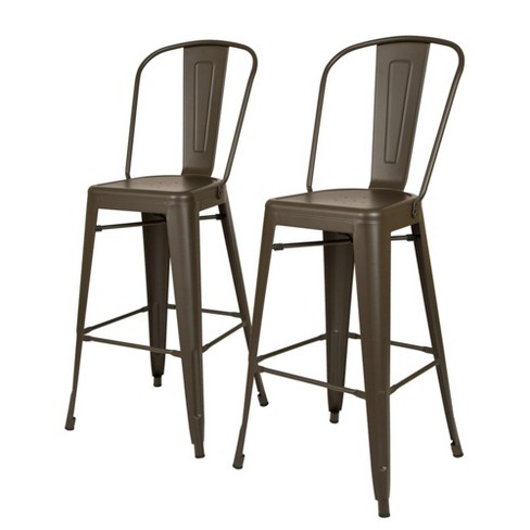 Set Of 2 Industrial High Back Metal Bar Stool Glitzhome Target