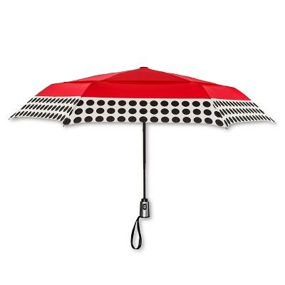 ShedRain Auto Open/Close Air Vent Compact Umbrella  - Red Polka Dot