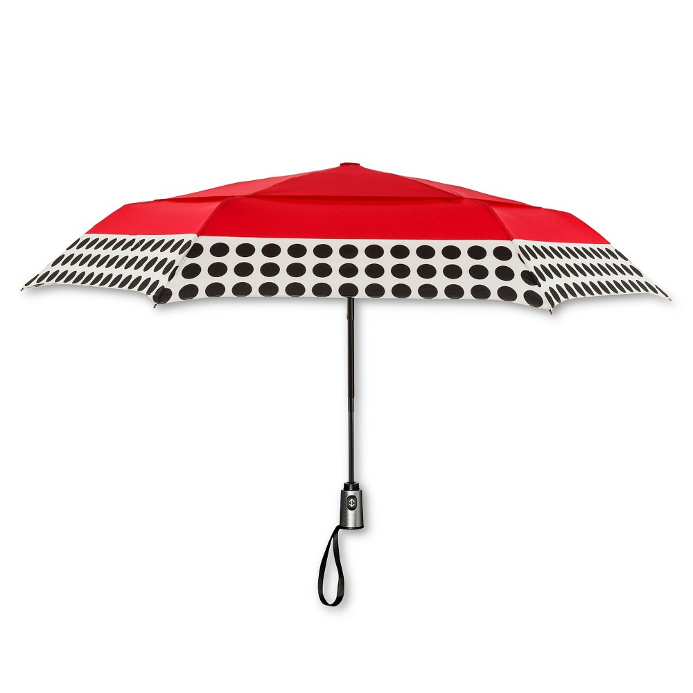Image of ShedRain Auto Open/Close Air Vent Compact Umbrella - Red Polka Dot