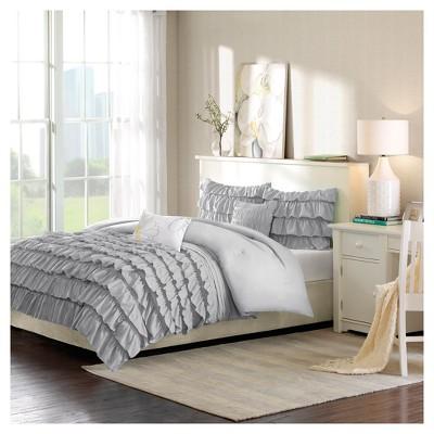 Gray Marley Ruffle Comforter Set Full/Queen 5pc