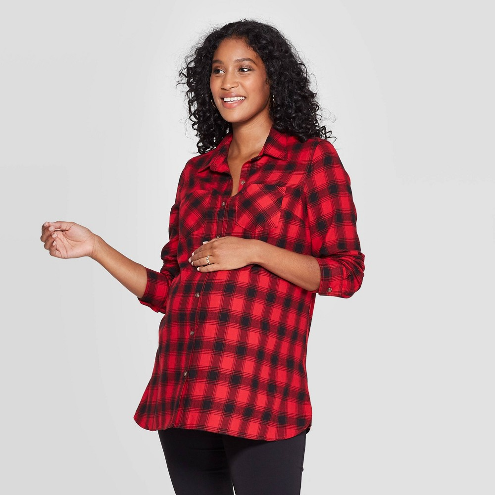 Image of Maternity Plaid Elbow Sleeve Flannel Tunic - Isabel Maternity by Ingrid & Isabel Red L, Women's, Size: Large