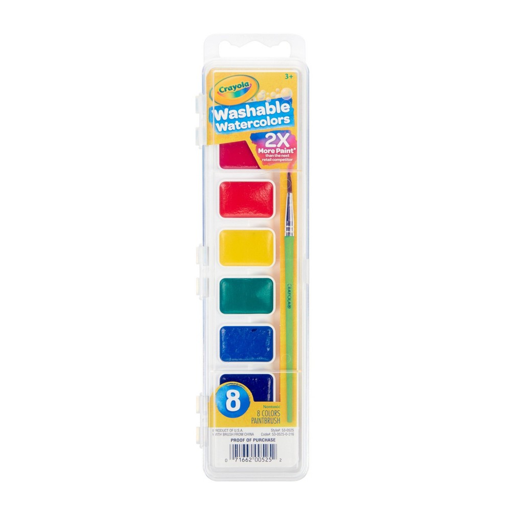 Crayola 8ct Watercolor Paints With Brush