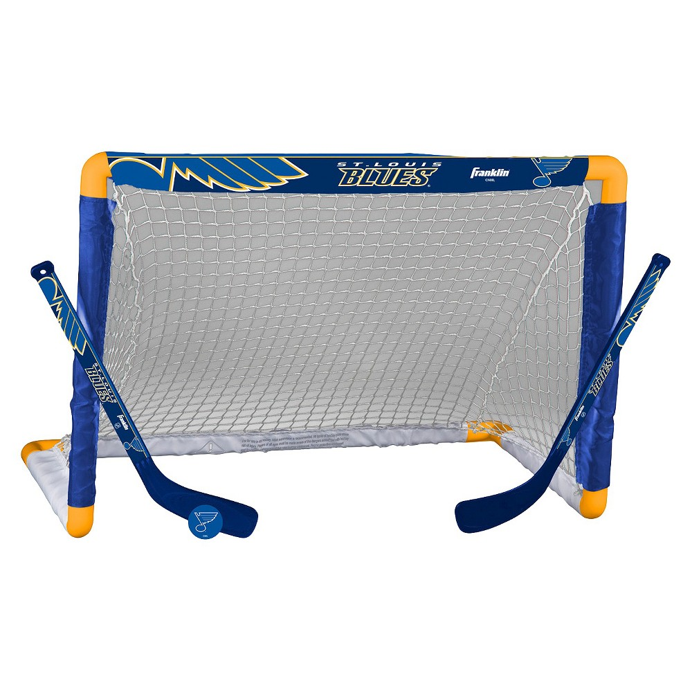 Franklin Sports NHL St. Louis Blues Mini Hockey Set Enjoy the rush of blasting slap shots and making epic saves with this NHL St. Louis Blues Mini Hockey Set from Franklin. This toy hockey set comes with two miniature hockey sticks, a small sized goal and a soft puck for safe play. Every item in this set features a St. Louis Blues logo or design, making it the perfect gift for a Blues fan who likes to test their own skills while having fun.