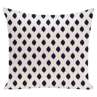 "16""x16"" Spring Ikat Geometric Print Square Throw Pillow Navy - e by design"