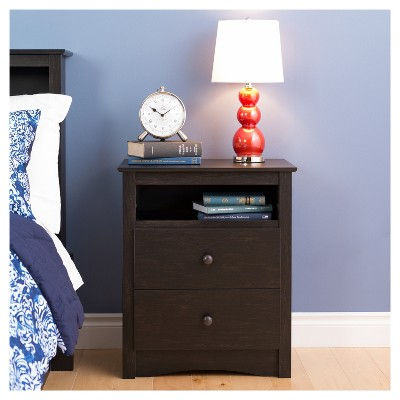 2 Drawer Nightstand Vintage Black - Prepac