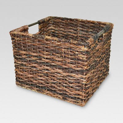"11""x13"" Wicker Large Milk Crate Dark Brown - Threshold™"