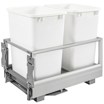 Rev-A-Shelf 5149-18DM-211 22 x 14.19 x 19.5 Inch Double 35 Quart Pull Out Kitchen Cabinet Waste Container Storage ,Trash Can, Slider, & Rev-A-Motion
