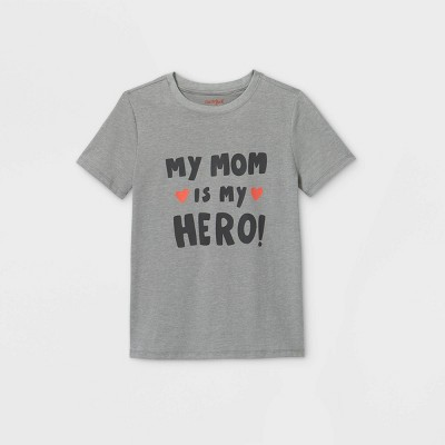 Boys' Short Sleeve 'My Mom is my Hero' Graphic T-Shirt - Cat & Jack™ Gray