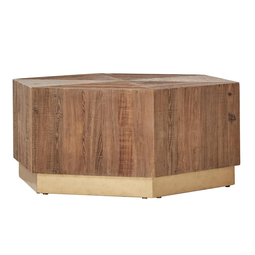 Kurtis Wood Hexagon Coffee Table with Brass - Inspire Q