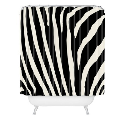 Natalie Baca Zebra Striped Shower Curtain Black/White - Deny Designs