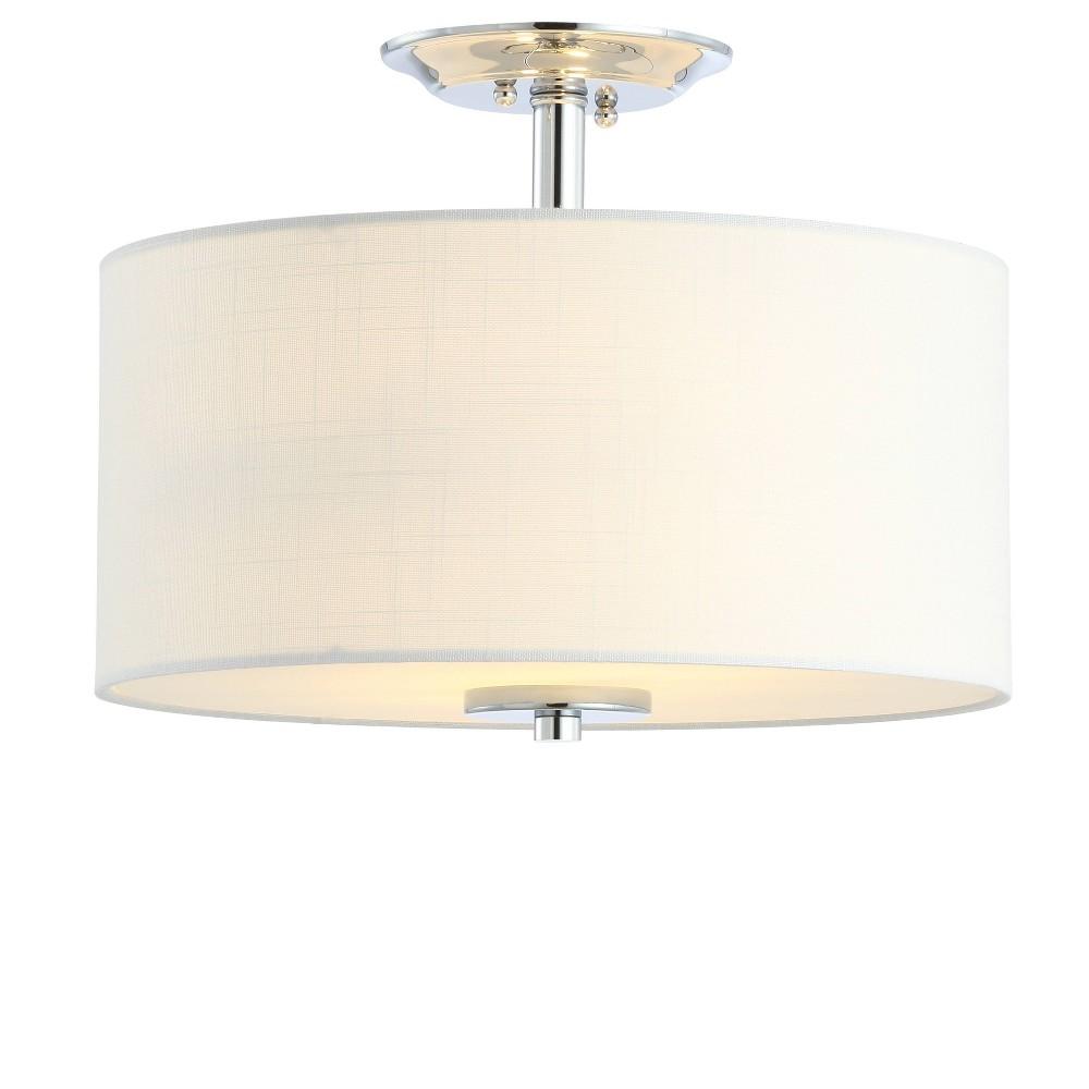"Image of ""15"""" Marc Metal/Linen LED Semi-Flush Mount Chrome (Includes Energy Efficient Light Bulb) - JONATHAN Y"""