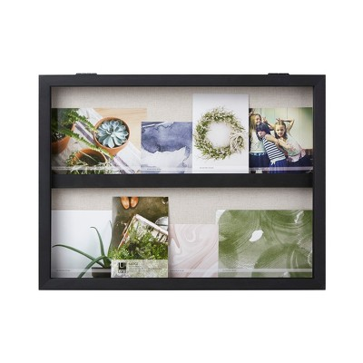 20 X15  Ledge Landscape Photo Display With Real Linen Backer Black - Loft By Umbra