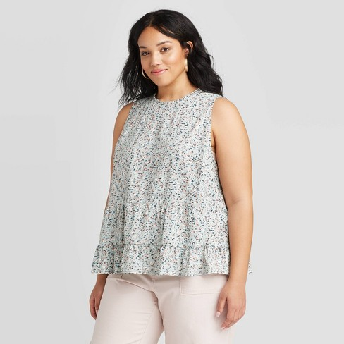 Women's Floral Print Tiered Cropped Tank Top - Universal Thread™ Mint - image 1 of 3