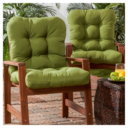 Set Of 2 Outdoor Seat Back Chair Cushions Hunter Green