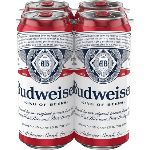 Budweiser Lager Beer - 4pk/16 fl oz Cans - image 1 of 4