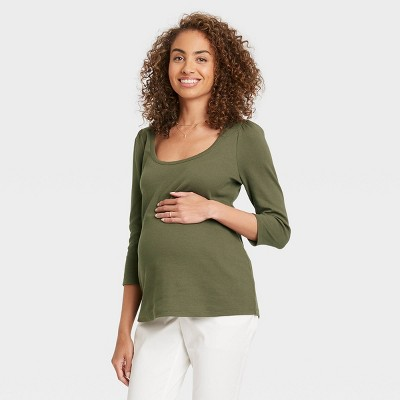 The Nines by HATCH™ Maternity Puff 3/4 Sleeve Scoop Neck Ribbed Jersey T-Shirt Olive