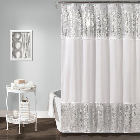 Shimmer Sequins Solid Shower Curtain Silver
