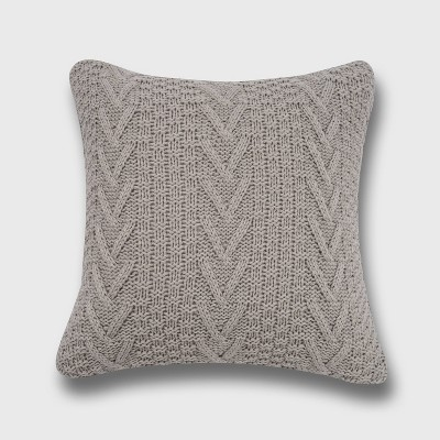 "20""x20"" Oversize Chunky Sweater Knit Square Throw Pillow - Evergrace"