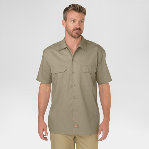 petiteDickies Men's Original Fit Short Sleeve Twill Work Shirt- Khaki XXL, Green