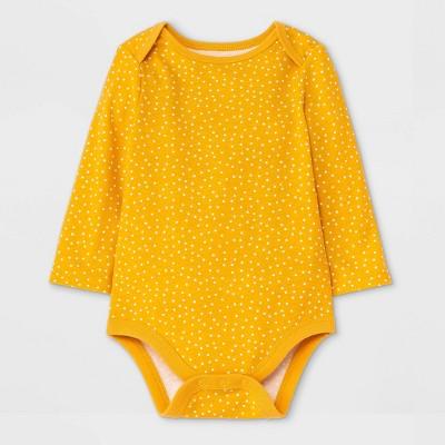 Baby Girls' Dot Long Sleeve Bodysuit - Cat & Jack™ Mustard Yellow Newborn