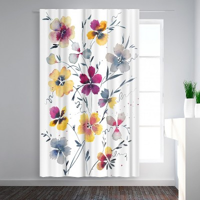 Americanflat Pansies Watercolor Floral by Victoria Nelson Blackout Rod Pocket Single Curtain Panel 50x84