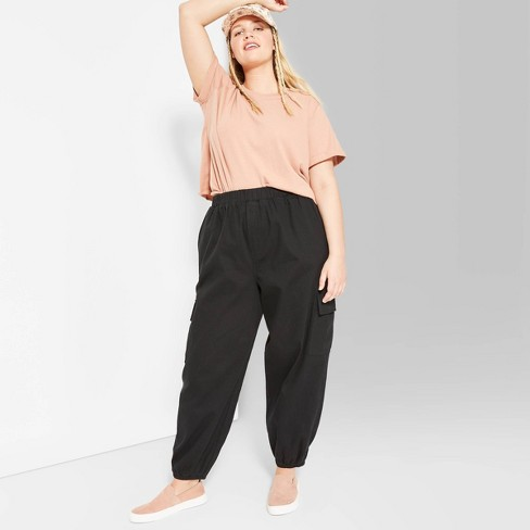 Women's Plus Size High-Rise Baggy Cargo Pants - Wild Fable™ Black - image 1 of 3