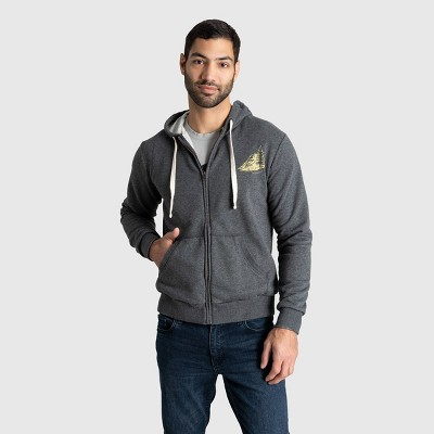 Men's United By Blue Explore On Graphic Zip Hoodie - Charcoal