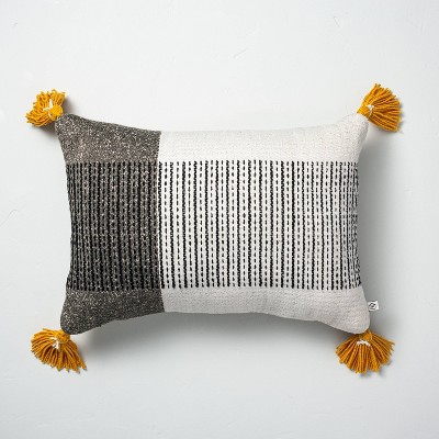 """14"""" x 20"""" Center Stripes Colorblock Indoor/Outdoor Throw Pillow Black/Yellow - Hearth & Hand™ with Magnolia"""