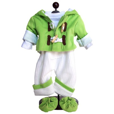 The Queen's Treasures 15 Inch Baby Doll Clothes, Bitty Twins 5pc Green Jumper, Jacket, Shirt & Shoes