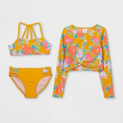 Girls' Floral Print 3pc Bikini Set - art class™ Gold