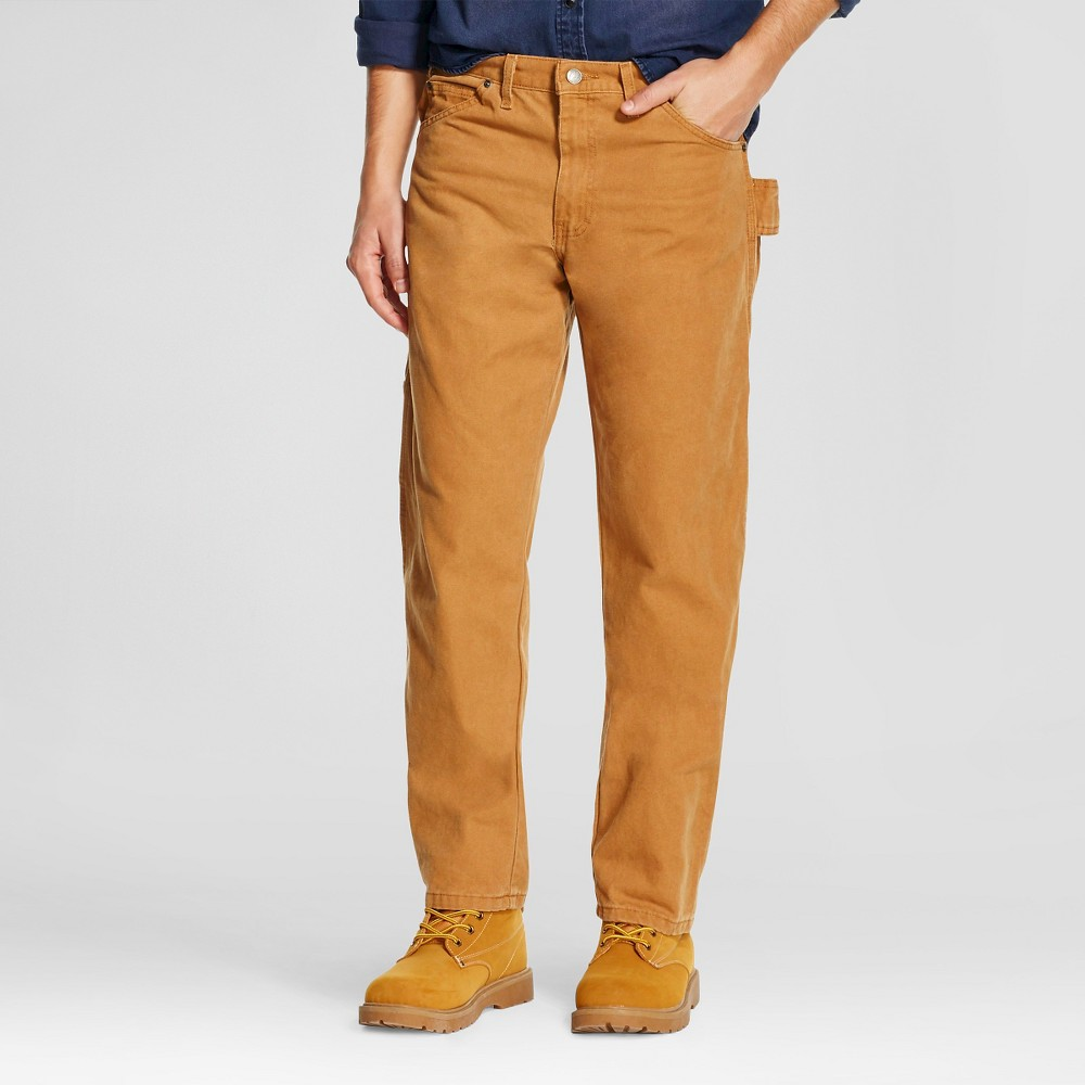 Dickies Men's Relaxed Straight Fit Sanded Duck Canvas Carpenter Jeans - Brown Duck 30x30