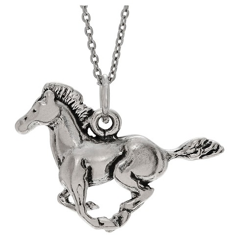 "Women's Journee Collection Running Horse Pendant Necklace in Sterling Silver - Silver (18"") - image 1 of 2"