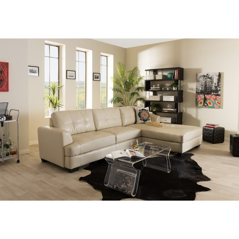 Dobson Leather Modern Sectional Sofa Black Baxton Studio