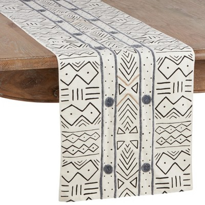 Saro Lifestyle African Mud Cloth Cotton Table Runner
