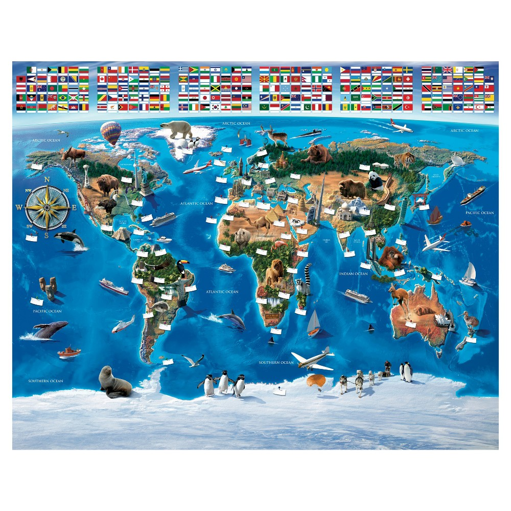 Image of Walltastic Map Of The World Mural, Multi-Colored