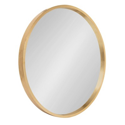 "22"" x 22"" Travis Round Wood Accent Wall Mirror Gold - Kate and Laurel"