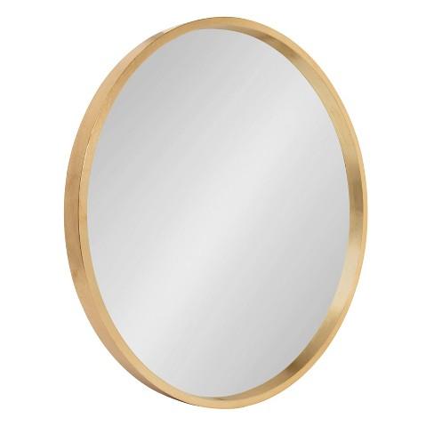 22 X Travis Round Wood Accent Wall, X Large Round Gold Mirror