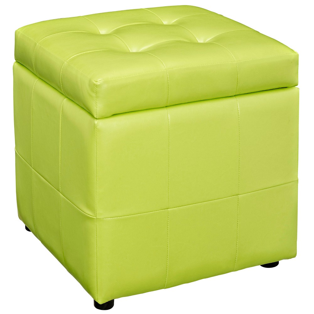Image of Volt Storage Upholstered Vinyl Ottoman Light Green - Modway