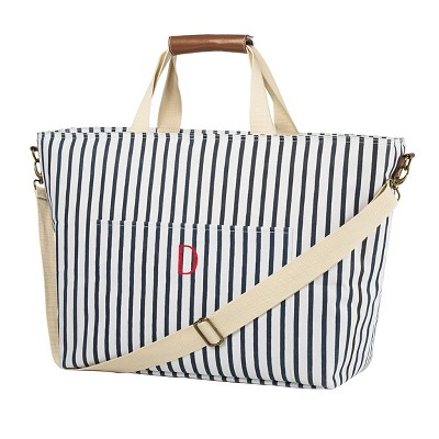 """D"" Striped Cooler Tote"