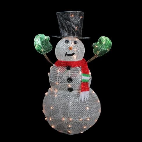 Outdoor Snowman Christmas Decorations.Northlight 48 3 D Lighted Glittering Mesh Winter Snowman Christmas Outdoor Decoration