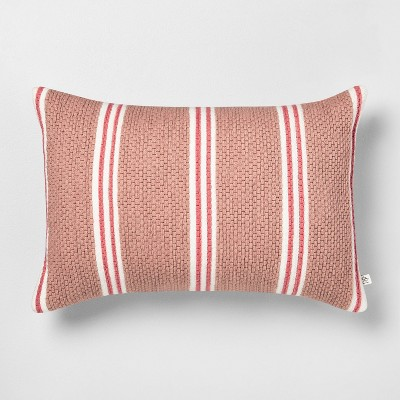 "14"" x 20"" Stripe Oblong Pillow Dusty Rose/Light Pink - Hearth & Hand™ with Magnolia"