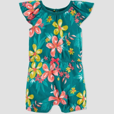 Baby Girls' One Piece Tropical Floral Romper - Just One You® made by carter's Green 9M